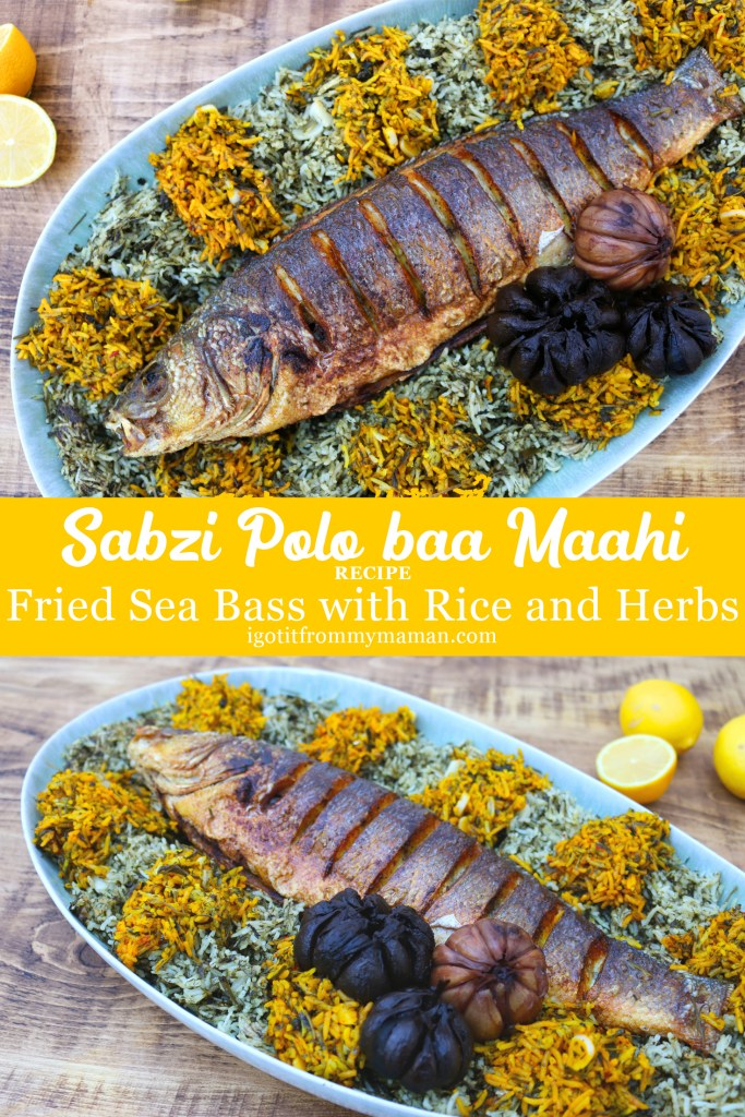 Sabzi Polo baa Maahi | Fried Sea Bass with Herb Garlic Rice | igotitfrommymaman.com