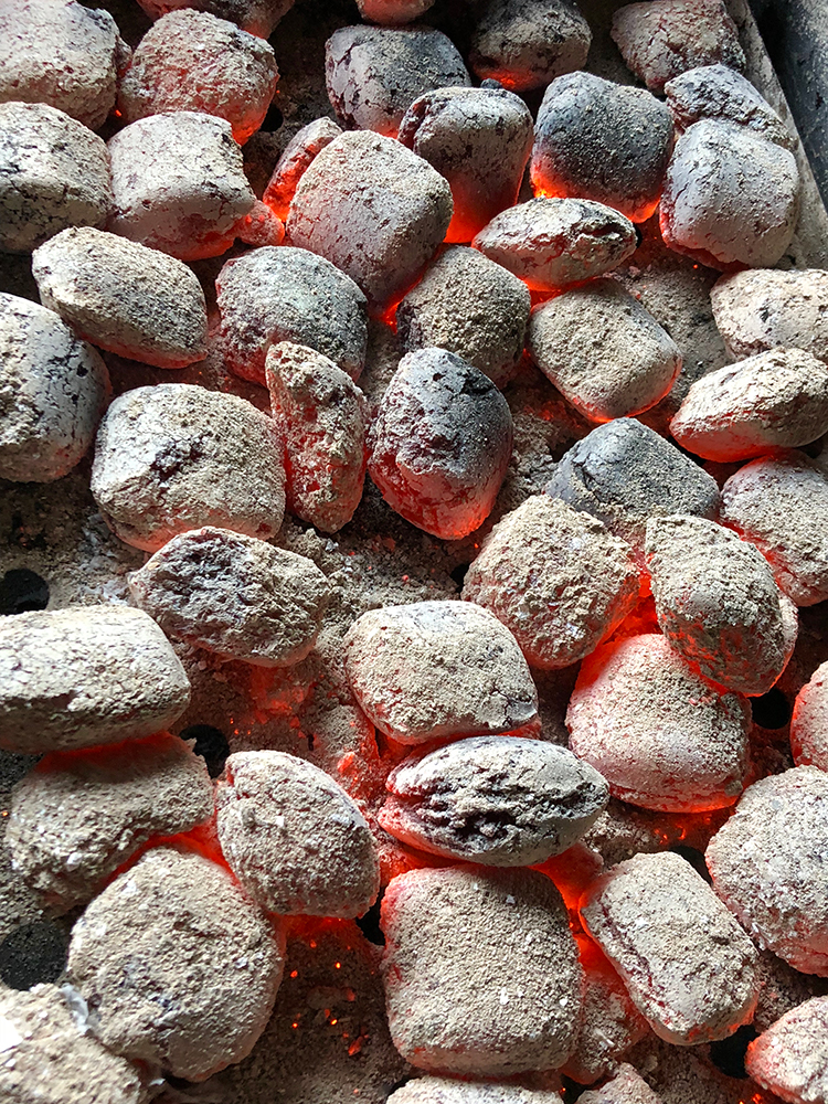 Charcoal ready for BBQ