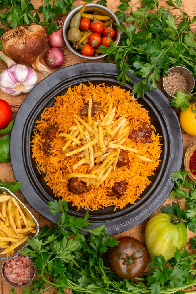 Estamboli Polo Recipe - Persian Lamb Rice with Fries | Authentic Persian recipes by igotitfrommymaman.com