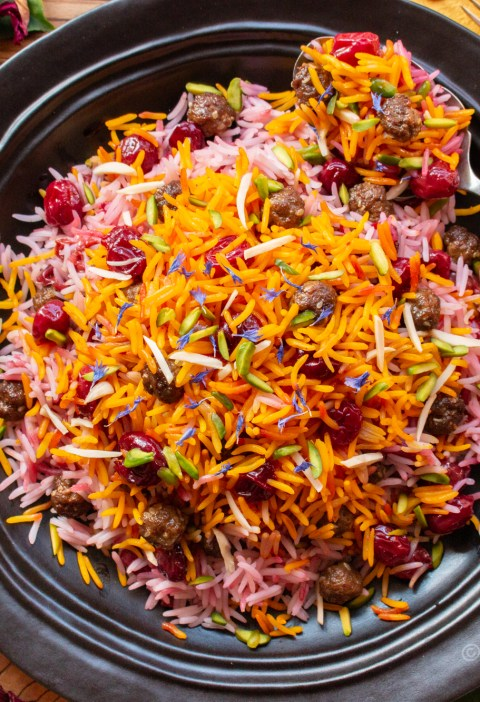 Albaloo Polo recipe | Persian Saffron Rice with Sour Cherries and Meatballs | igotitfrommymaman.com