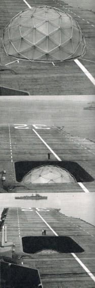 Despliegue de una cúpula en un portaaviones.