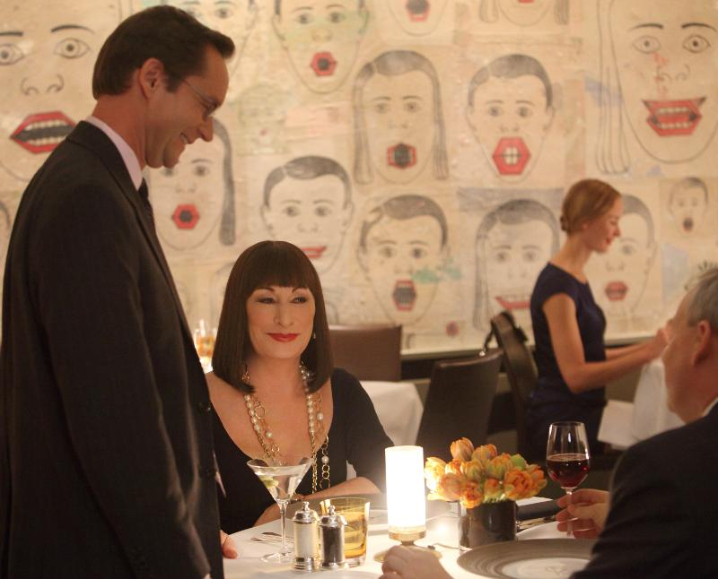 Michael Riedel with Anjelica Huston in Smash