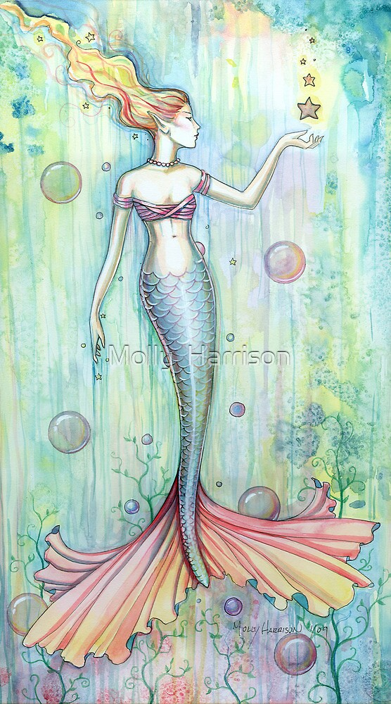 Bubbles Mermaid Art By Molly Harrison By Molly