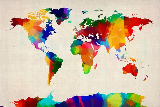 """""""Map Of The World Map Painting"""" Posters By Michael"""