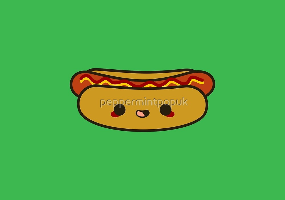 Yummy Kawaii Hot Dog By Peppermintpopuk Redbubble