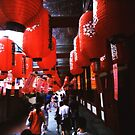red lines of lanterns