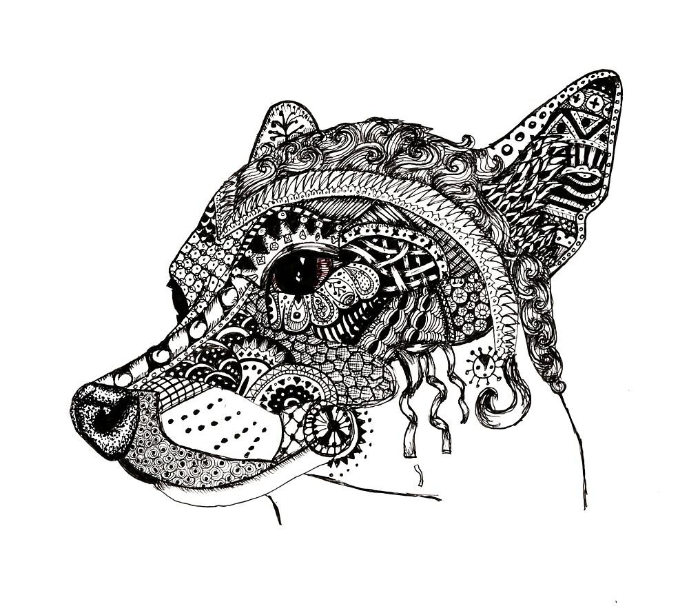 Zentangle Dog Portrait By LexiBeeDoodles Redbubble