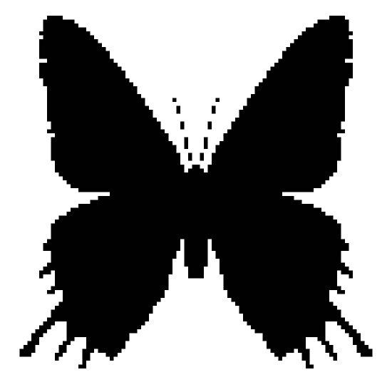 8-bit Simplex pixel Black butterfly