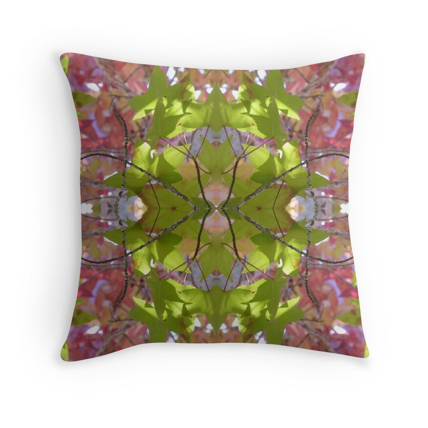 Green Lime Pink Autumn Reflection Throw Pillow