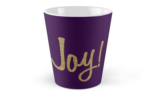 Faux Gold Glitter JOY! Tall Mugs