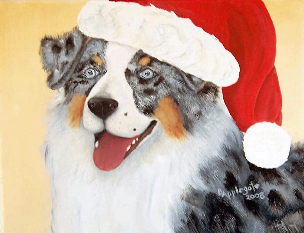 Christmas Australian Shepherd Oil Painting By