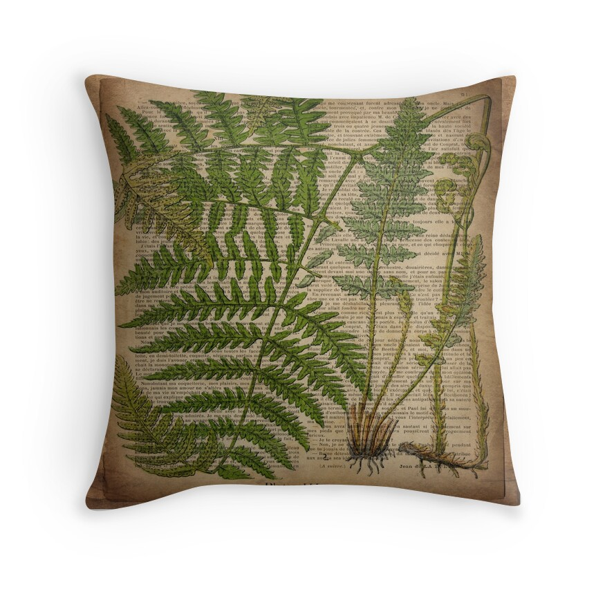 Vintage Hipster Botanical Print Fern Leaves Throw Pillows By Lfang77 Redbubble