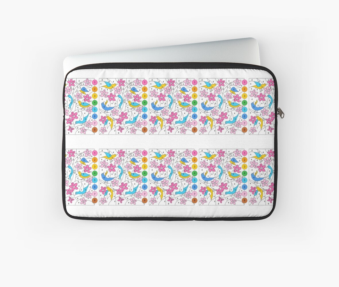 Color By Number Laptop Sleeves By Nicole Florian