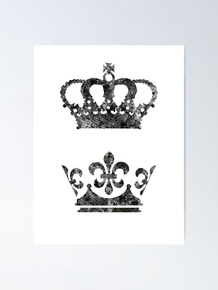 King And Queen Crown Poster By Rosaliartbook Redbubble