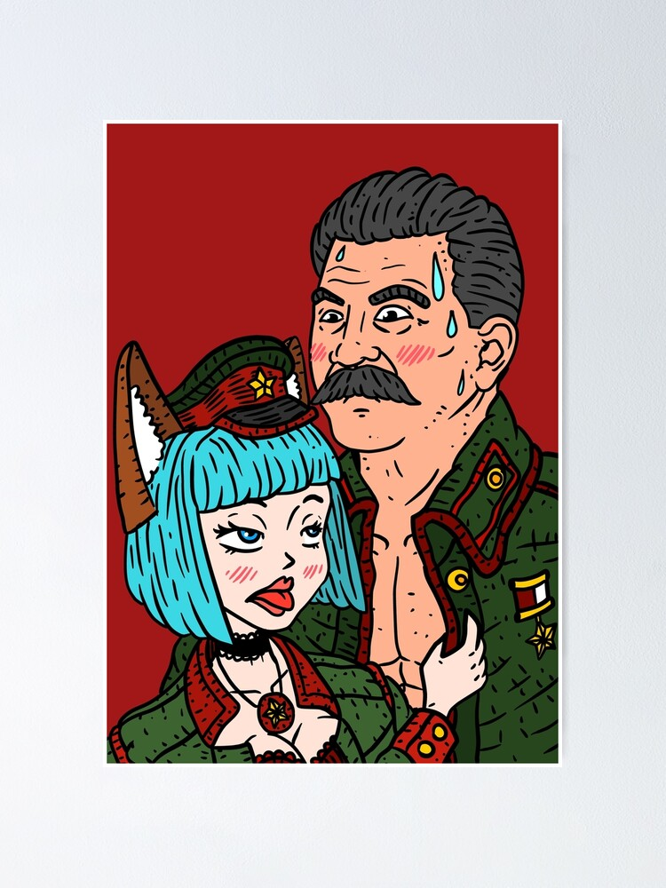 Stalin Anime Communist Cat Girl Funny Poster By