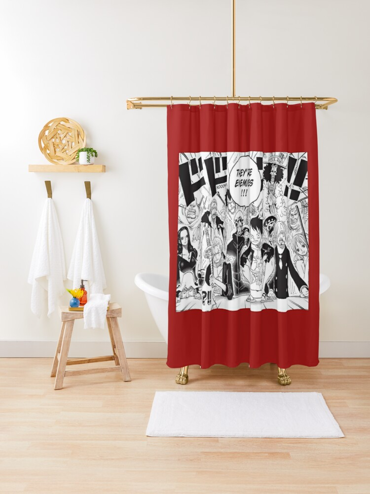 one piece manga shower curtain by marlow31 redbubble