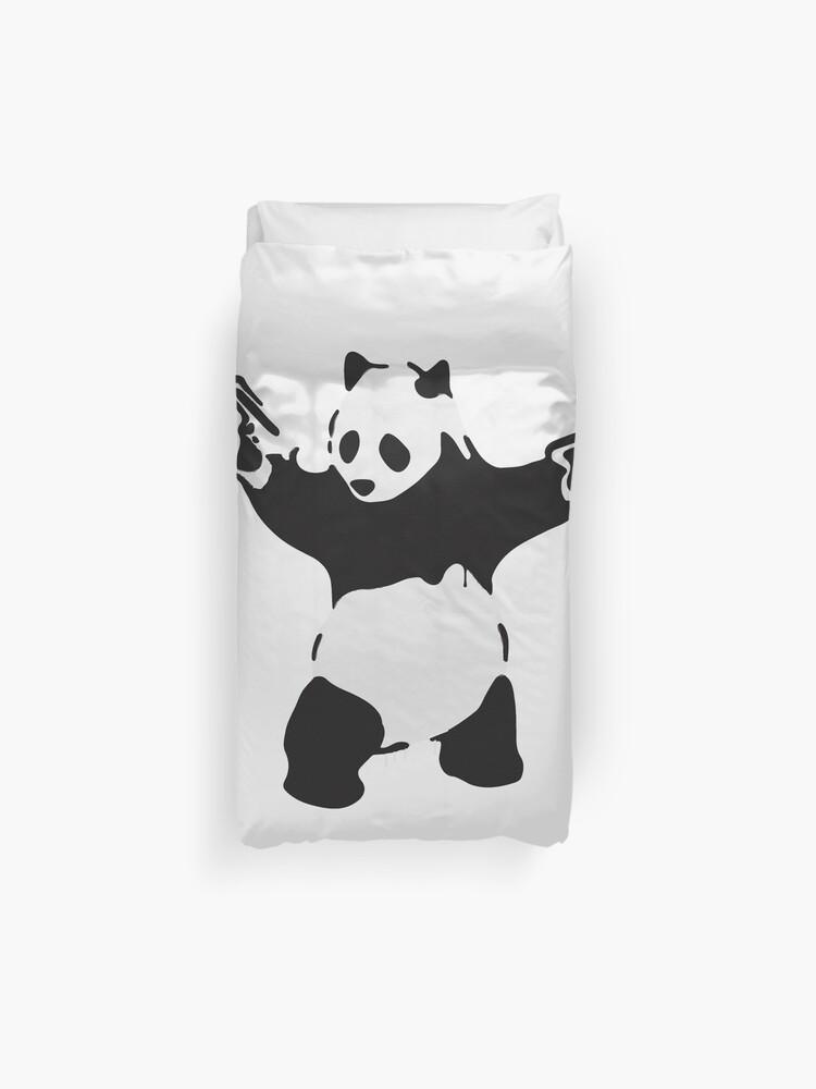 housse de couette oeuvre de panda arme de banksy pandamonium pandemonium street art design pour affiches impressions t shirts hommes femmes par clothorama redbubble