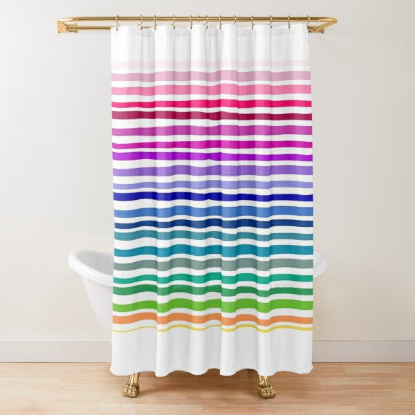 colourful stripes shower curtains redbubble