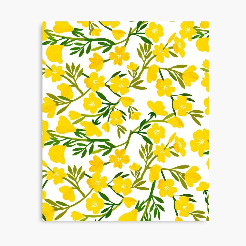 Yellow Vintage Flower Pattern Wallpaper Design Poster By Greygoodzstore Redbubble