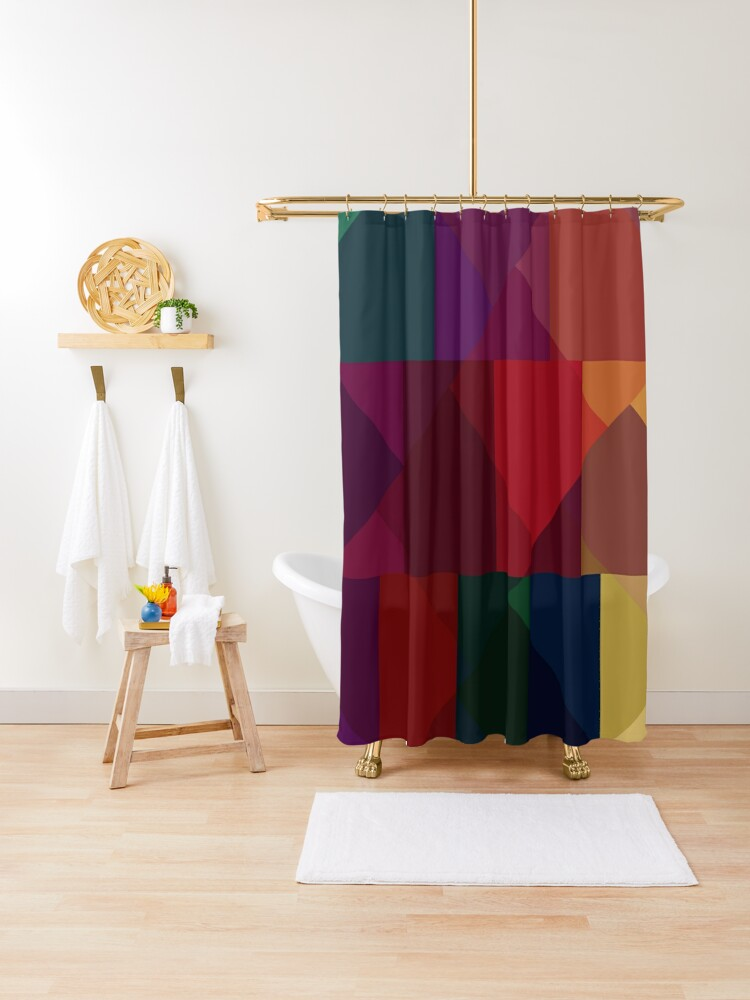 jewel tones abstract geometric iii shower curtain by westernexposure redbubble