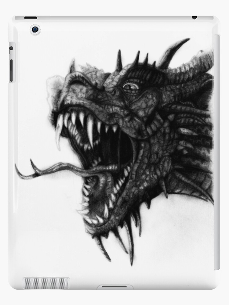 Dragon Face Drawing Ipad Case Skin By Deathlouis Redbubble