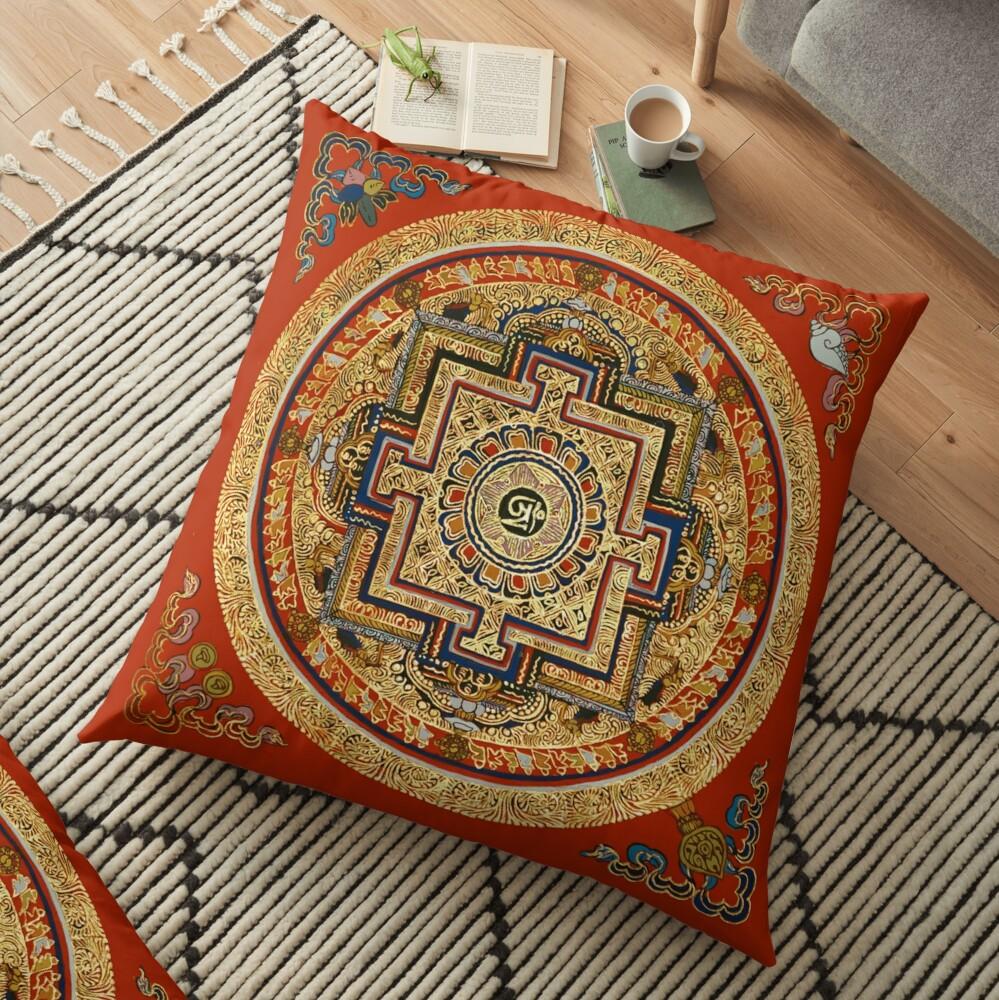 tibet tibetan mandala floor pillow by tomsredbubble redbubble