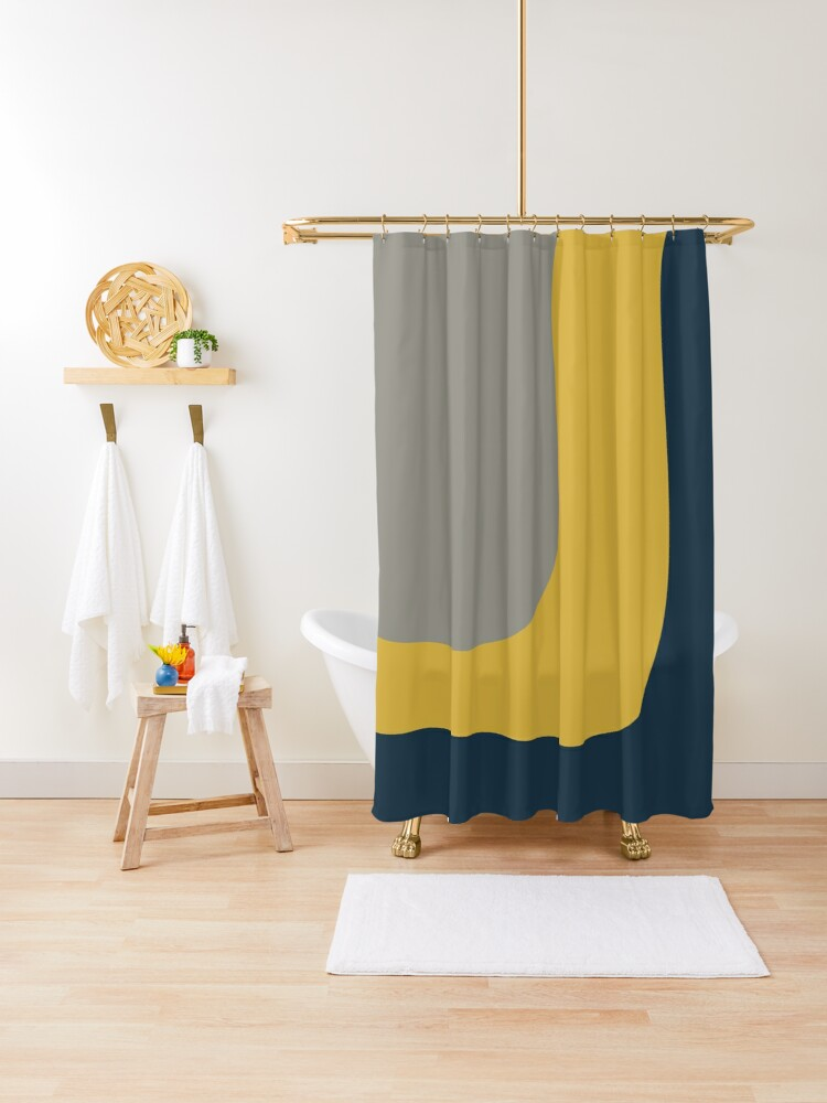 triple wave minimalist pattern in mustard yellow navy blue and grey shower curtain by kierkegaard redbubble