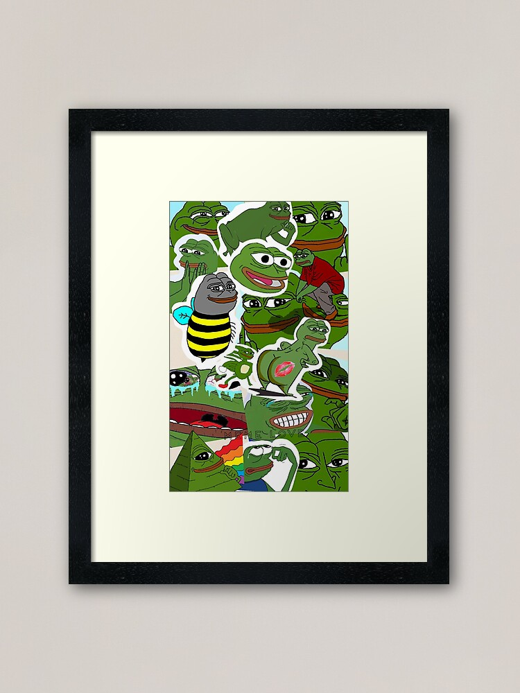 Pepe Meme Love Collage Framed Art Print By Mousmuse Redbubble