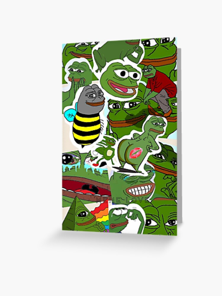 Pepe Meme Love Collage Greeting Card By Mousmuse Redbubble