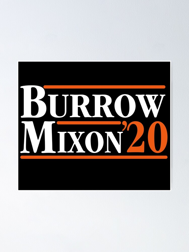 burrow x mixon 2020 bengals poster by sammystore1 redbubble