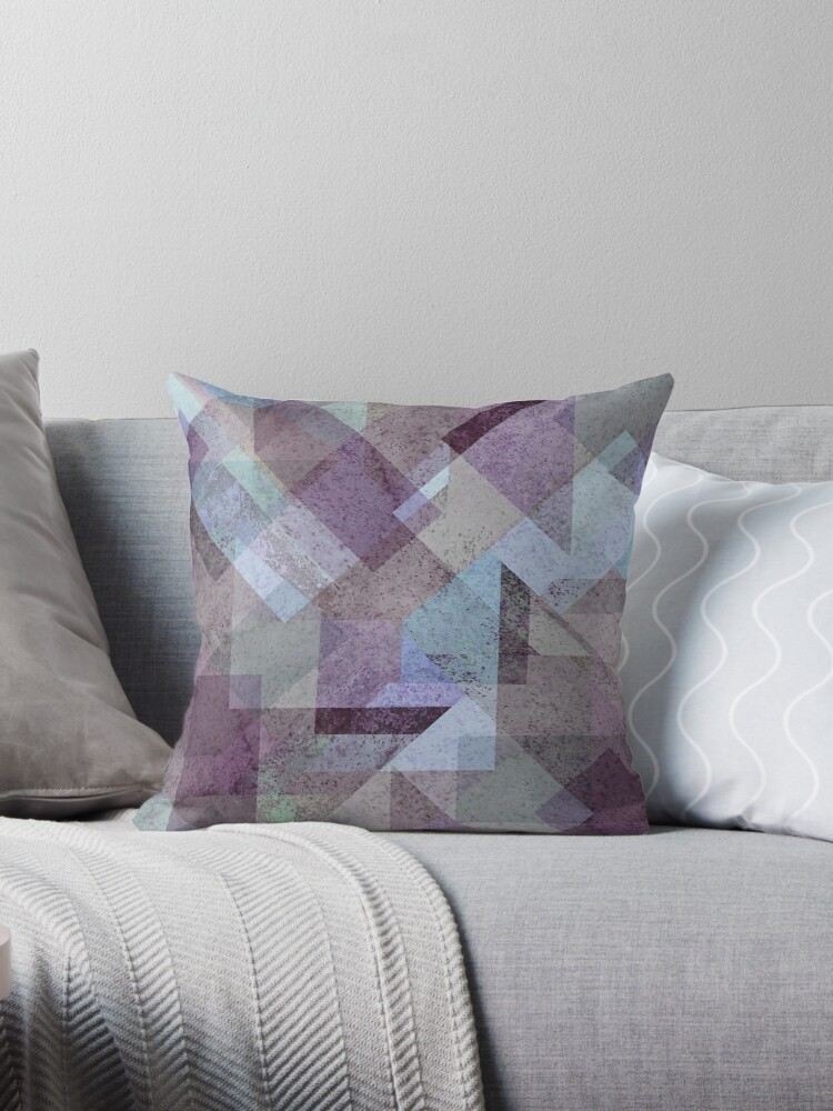 plum turquoise abstract geometric throw pillow by xiari redbubble