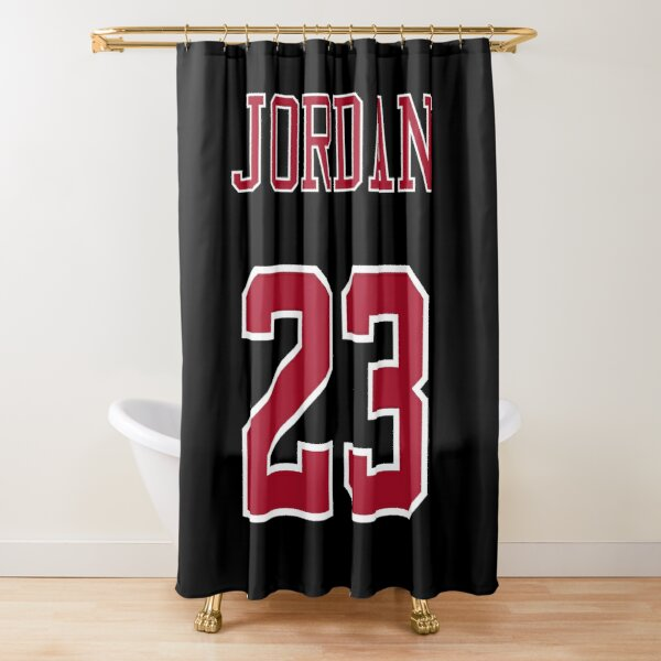 dennis rodman 91 name and number chicago bulls black and red shower curtain by mailmansam redbubble