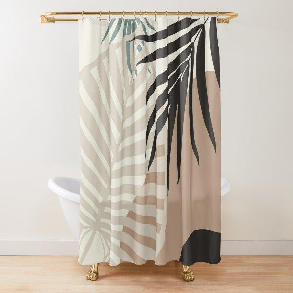 minimal tropical palm leaf finesse 1 tropical decor art shower curtain by anitabellajantz redbubble