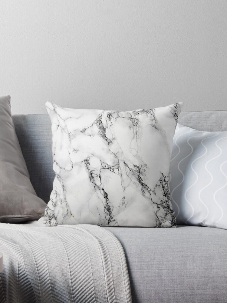 white marble throw pillow by artonwear redbubble