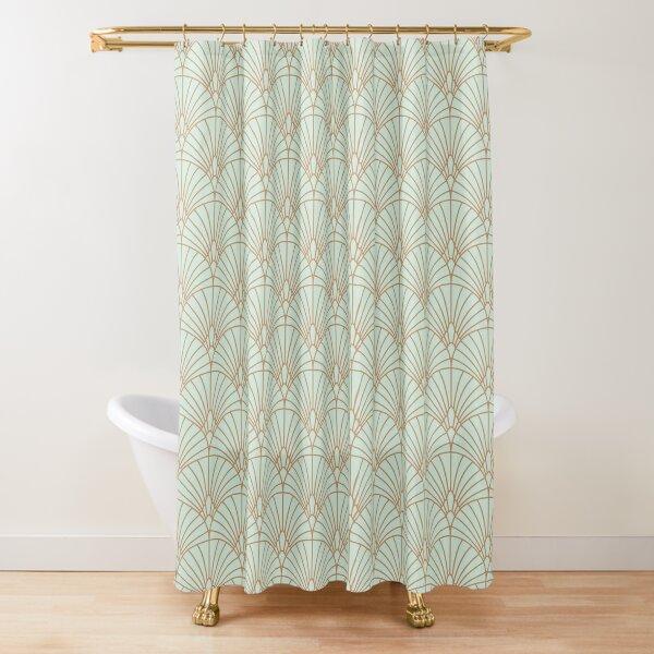 art deco fan pattern shower curtain by kookiepixel redbubble