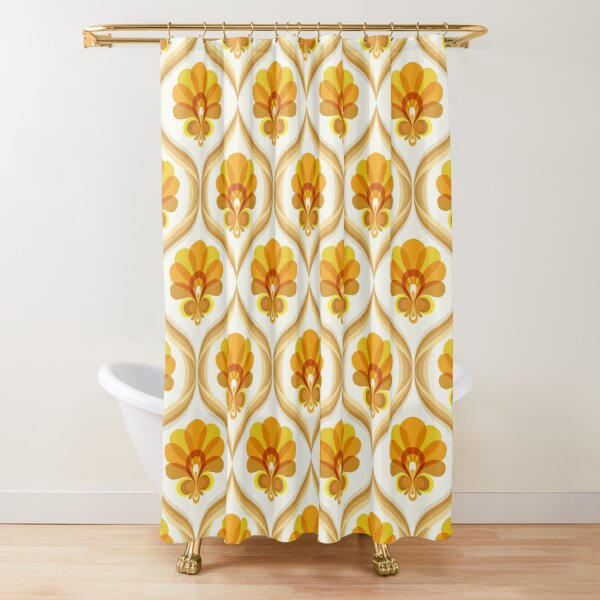 yellow orange and brown vintage floral pattern shower curtain by eyestigmatic redbubble