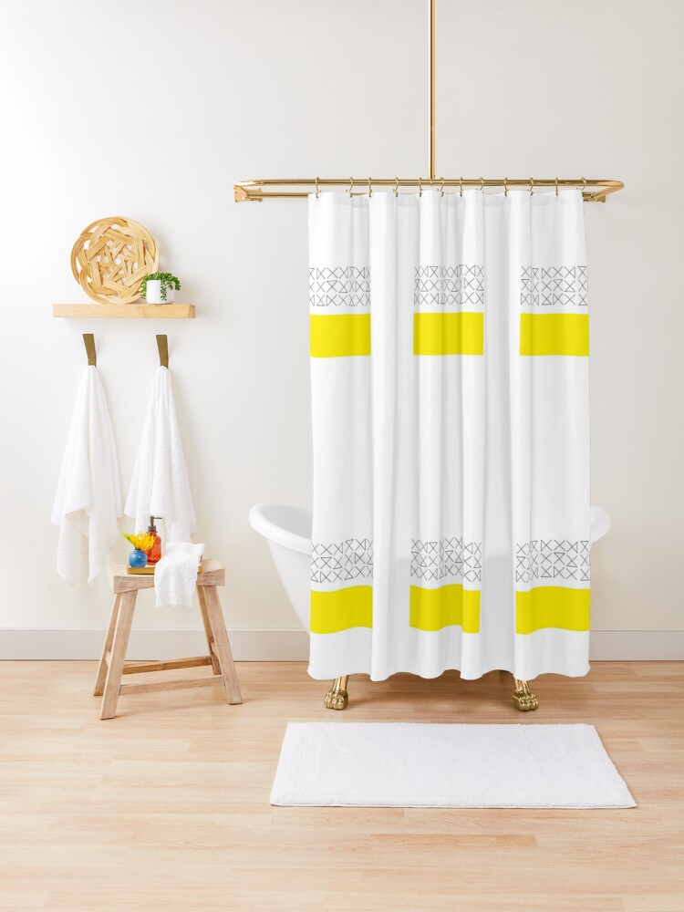 black and white yellow shower curtain by meiranshin redbubble
