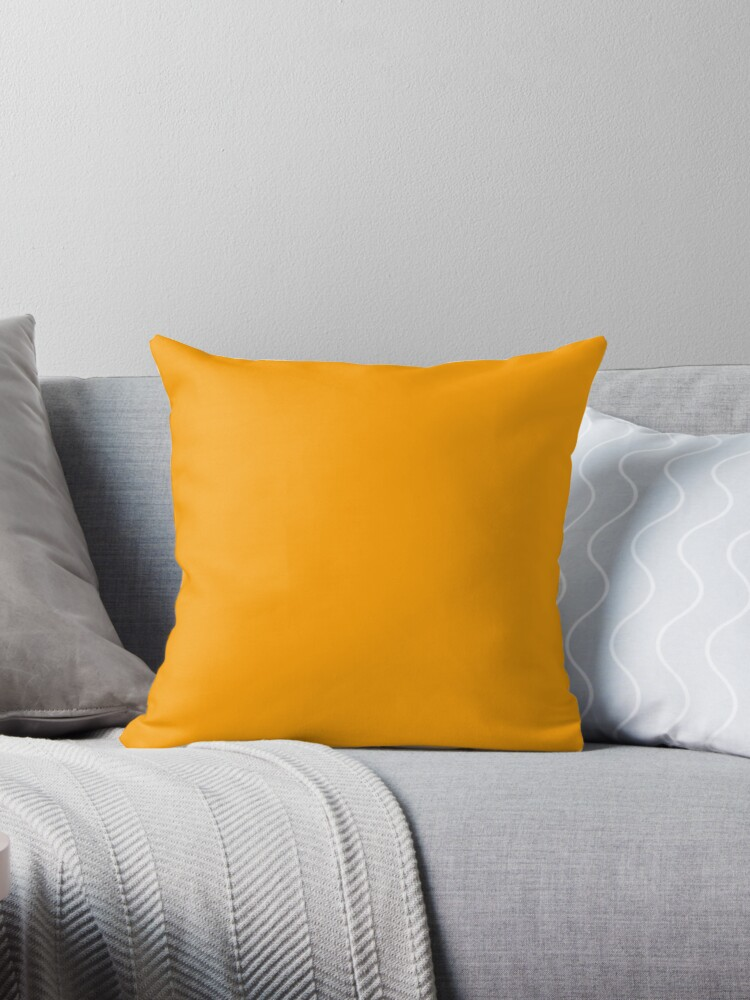 very vivid orange peal plain light orange solid color by ozcushions throw pillow by ozcushions redbubble