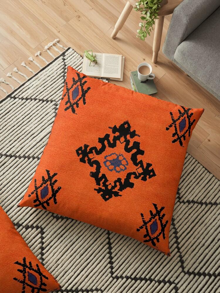 moroccan black and orange kilim boho pillows floor pillow by rabiadesigns redbubble