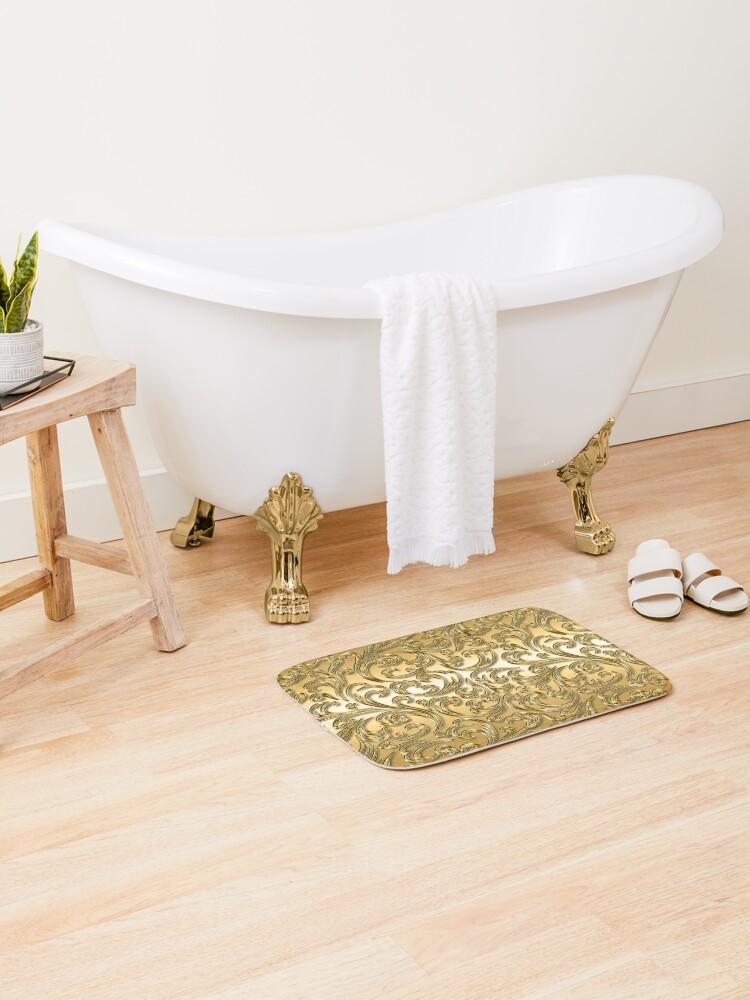 tapis de bain elegant motif de luxe fleuri couleurs dorees brillantes avec un look 3d