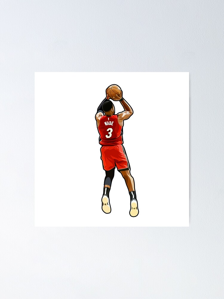 dwyane wade 3 heat in action poster by vectortower redbubble