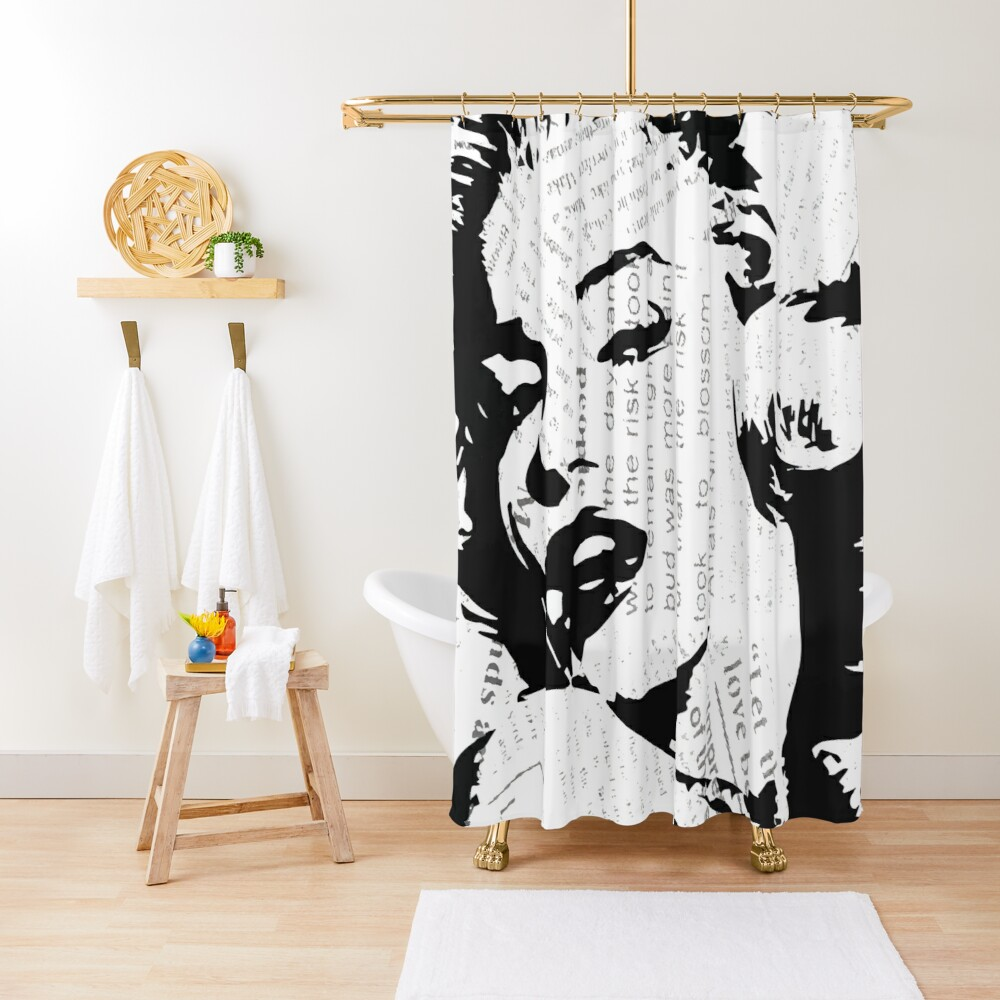 marilyn monroe typography shower curtain by jehgraphix redbubble