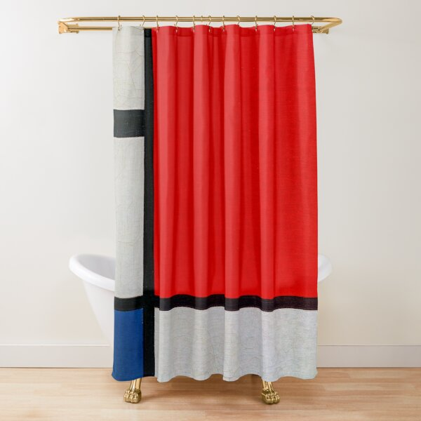 mondrian composition with red blue and yellow shower curtain by chrissidehustle redbubble
