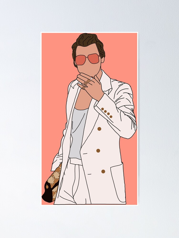 harry styles white suit poster by edevyor redbubble