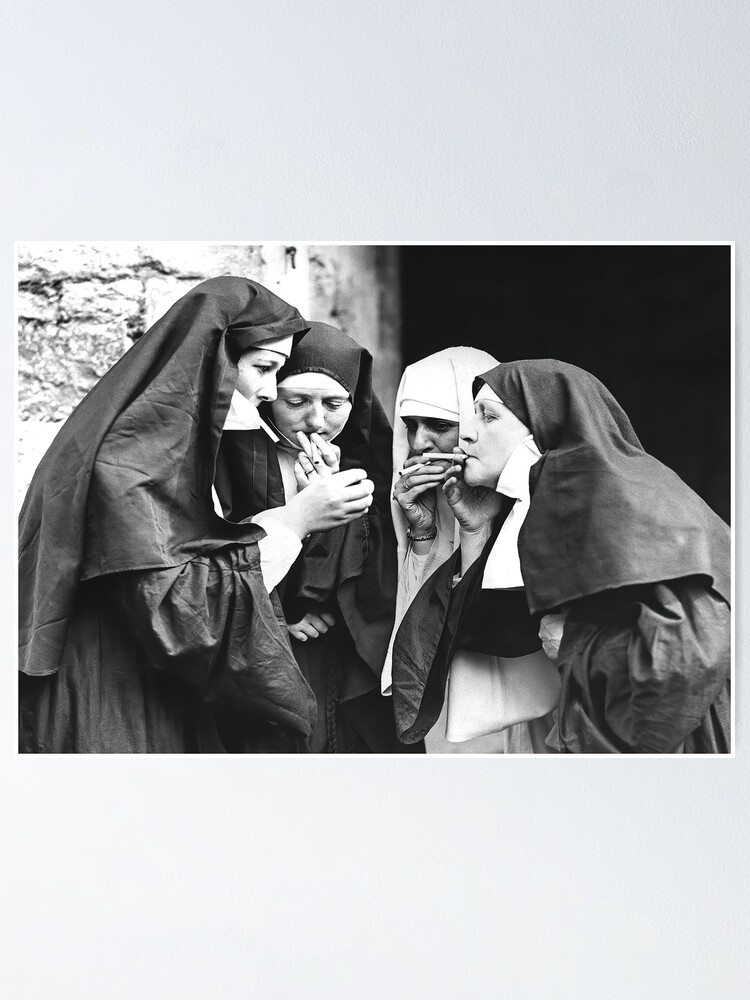 Nuns Smoking Black And White Vintage Art Poster By Modernretro Redbubble