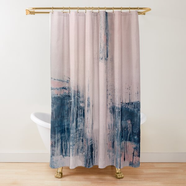 pink and navy shower curtains redbubble