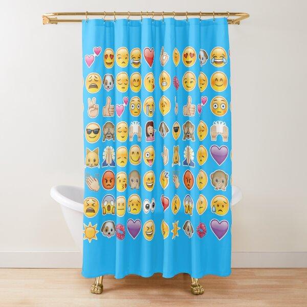 aqua blue emojis shower curtains redbubble