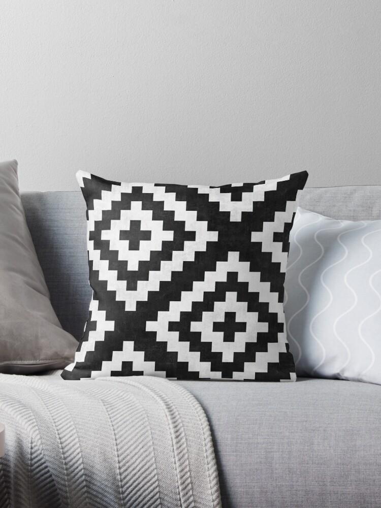 urban tribal pattern no 17 aztec black and white concrete throw pillow by zoltanratko redbubble