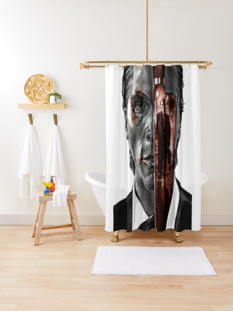 american psycho shower curtain by bobeacm redbubble