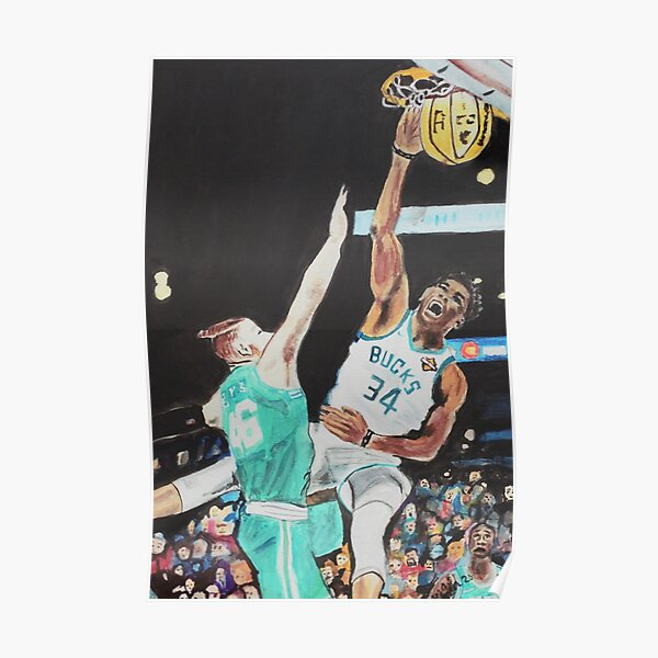 giannis dunking posters redbubble